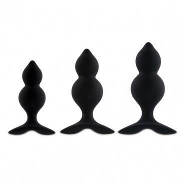 Bibi Twin butt plug set 3 pcs black  Feelztoys