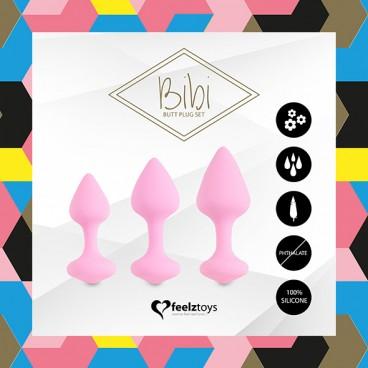 Bibi butt plug set 3 pcs pink  Feelztoys