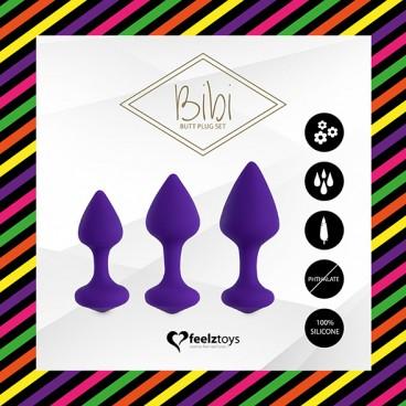 Bibi butt plug set 3 pcs purple  Feelztoys