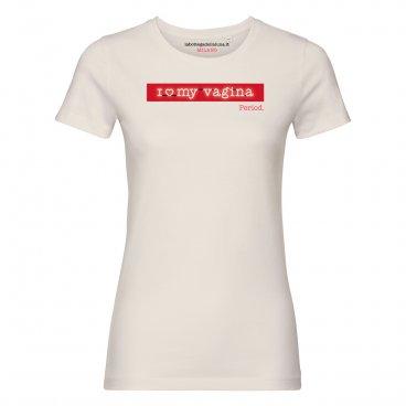 """Maglietta Bio """"i Love My Vagina. Period"""" Neon - Natural"""